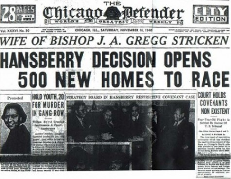 Headline Featuring the Resolution of Hansberry's Housing Ruling from 1940