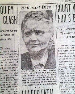 (Marie Curie's Obituary)